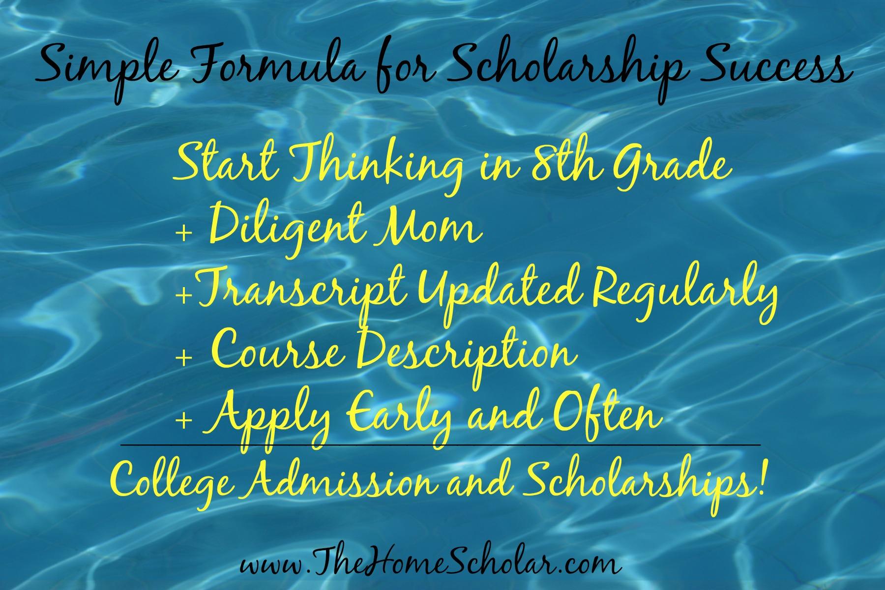#Simple Formula for Scholarship Success @TheHomeScholar