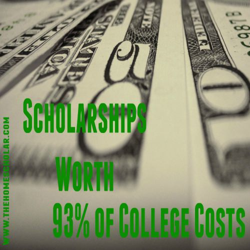 Scholarships worth 93% of college costs @TheHomeScholar