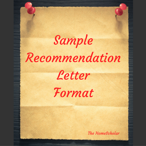 Sample Letter of Recommendation Format